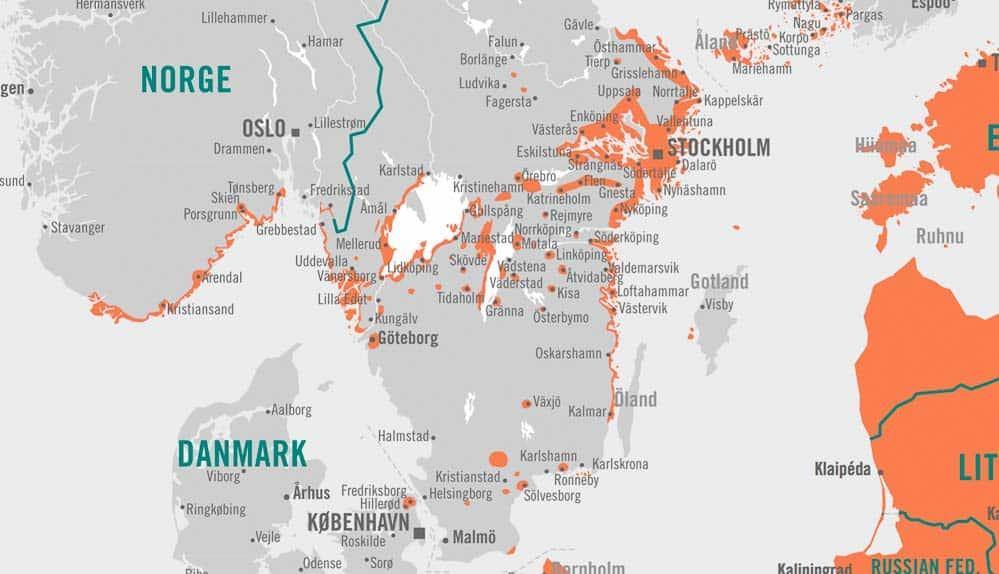 TBE kaart Zweden